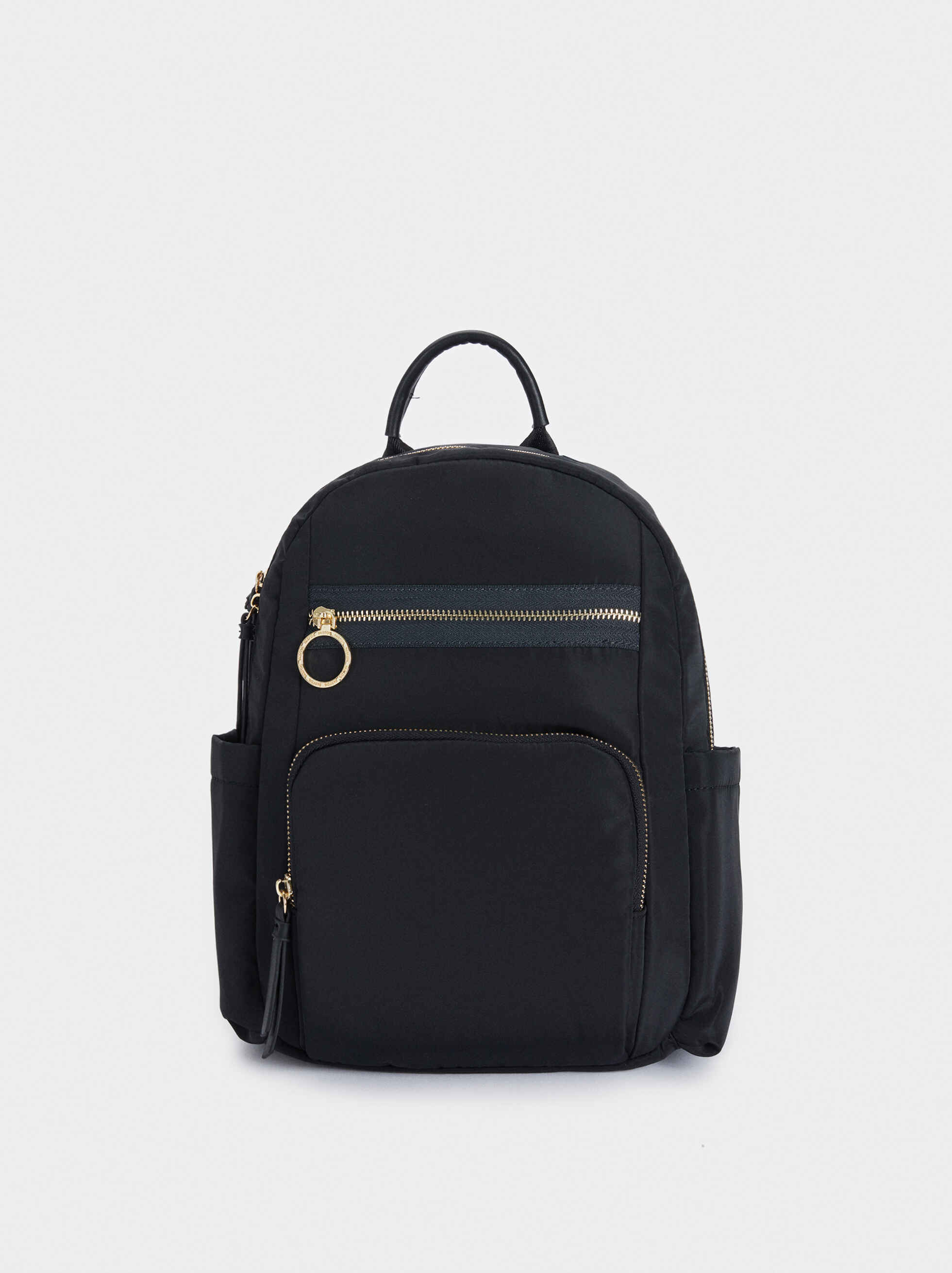 Nylon Backpack With Exterior Pockets, , hi-res