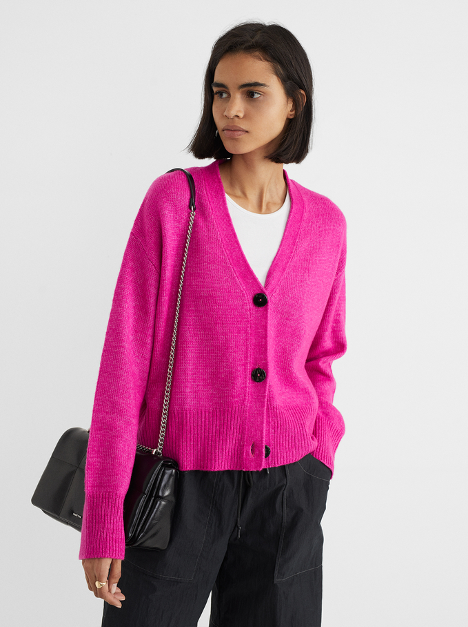 Knitted Cardigan With Buttons, Pink, hi-res