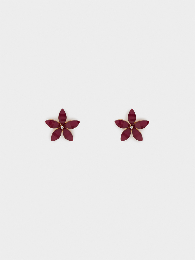 Short Flower Earrings With Crystals, Red, hi-res