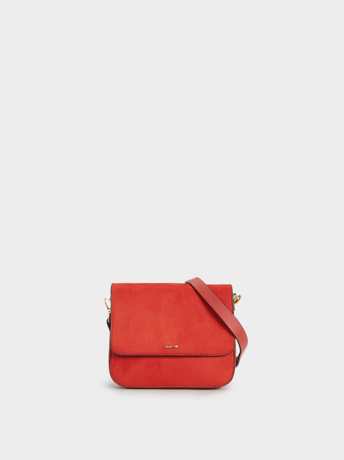 Suede Texture Crossbody Bag, Brick Red, hi-res
