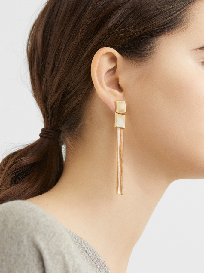 Long Fringed Earrings, Golden, hi-res