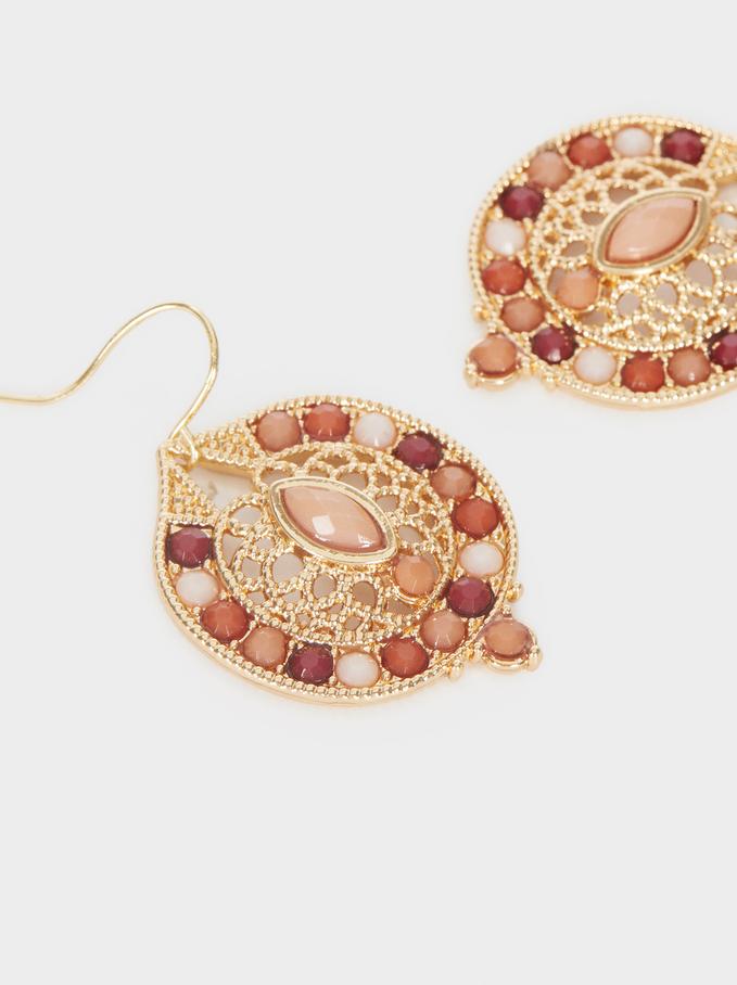 Medium Multicoloured Earrings, Camel, hi-res