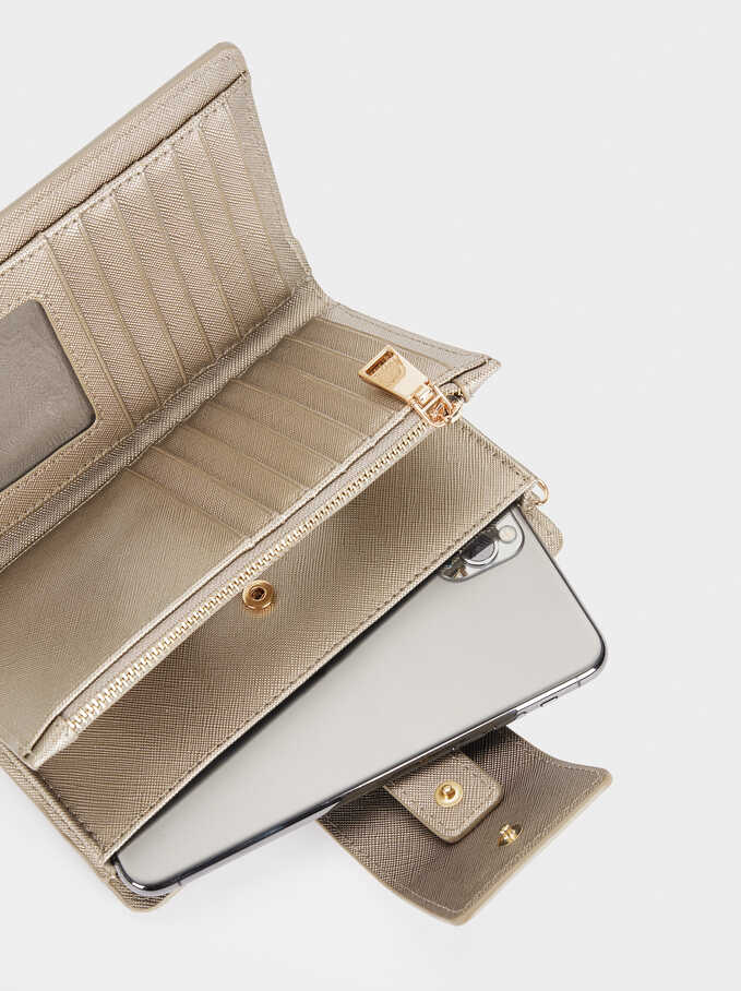 Compact Purse With Handle, Silver, hi-res