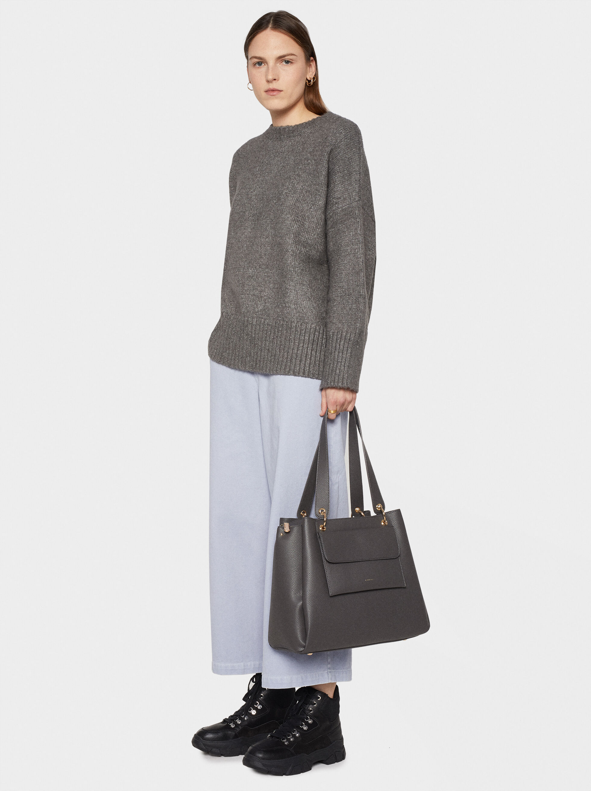 Tote Bag With Removable Outer Pocket, Grey, hi-res