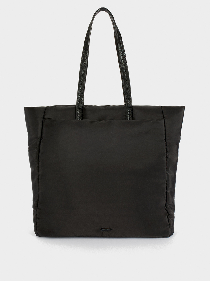 Nylon Shopper Bag With Cord Detail, Black, hi-res