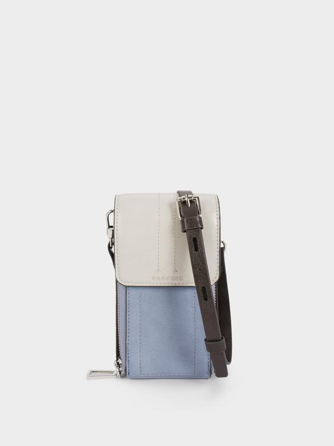 Combined Phone Case With Shoulder Strap, Blue, hi-res