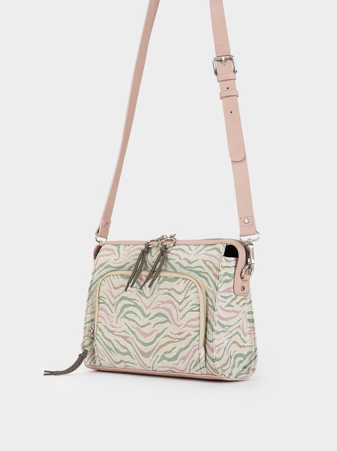 Animal Print Crossbody Bag, Pink, hi-res