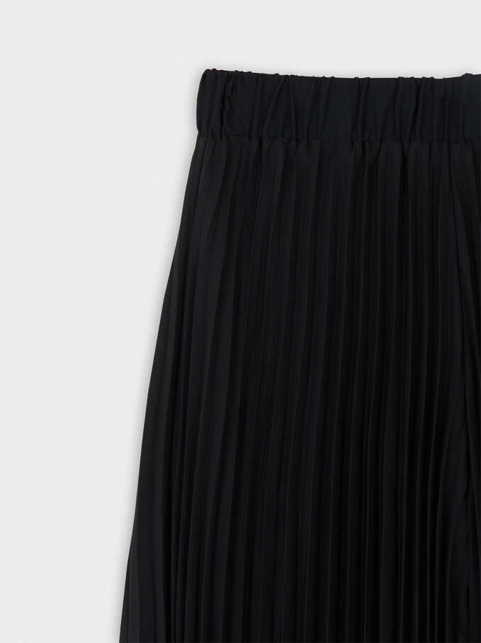 Loose-Fitting Pleated Trousers, Black, hi-res