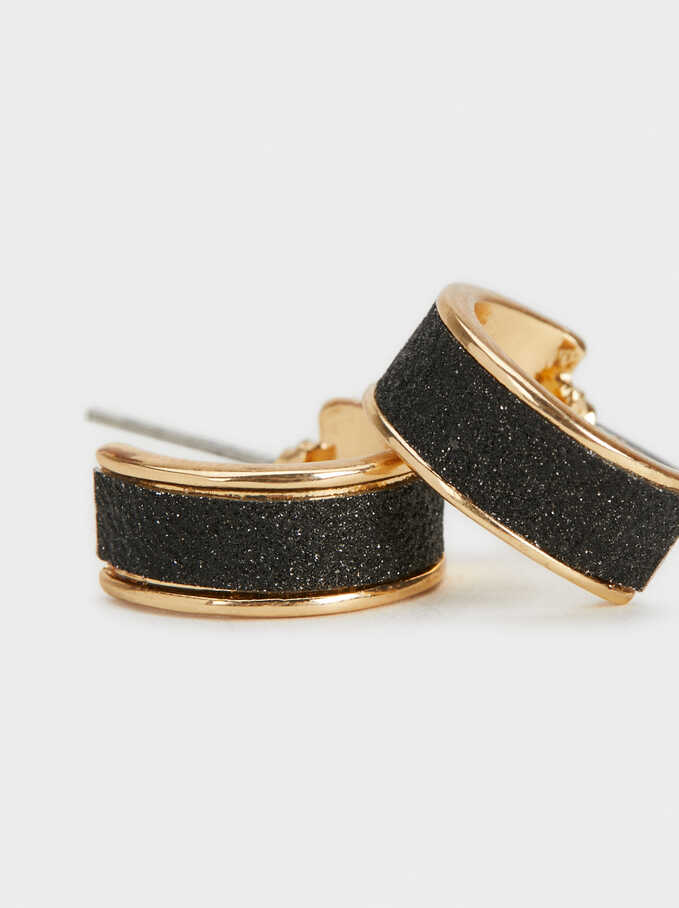 Small Shimmery Hoop Earrings, Golden, hi-res