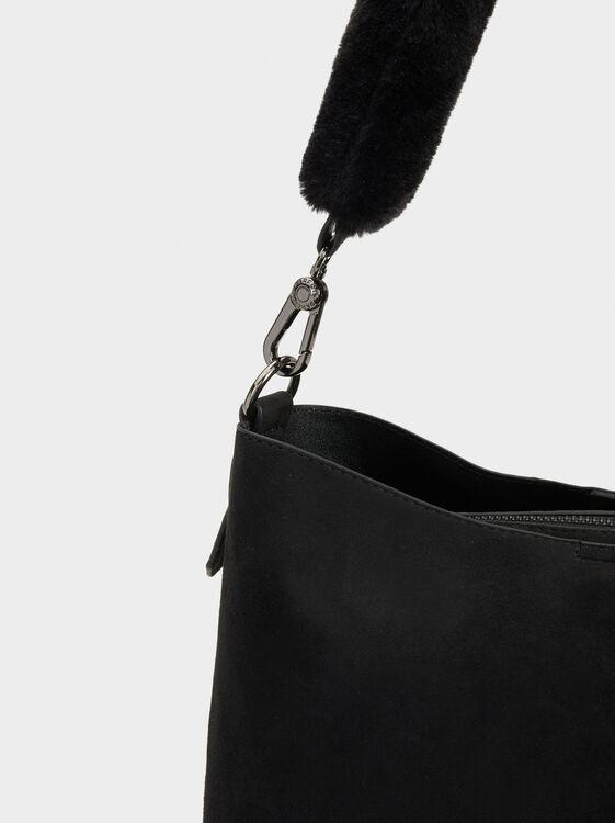 Handbag With Faux Fur Appliqué, Black, hi-res