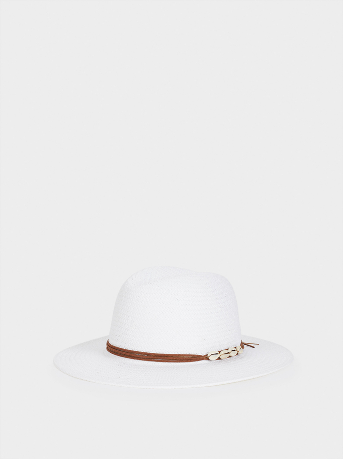 Braided Hat With Contrast Band, White, hi-res