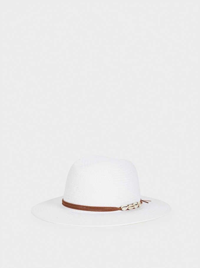 Sombrero Trenzado Con Cinta A Contraste, Blanco, hi-res