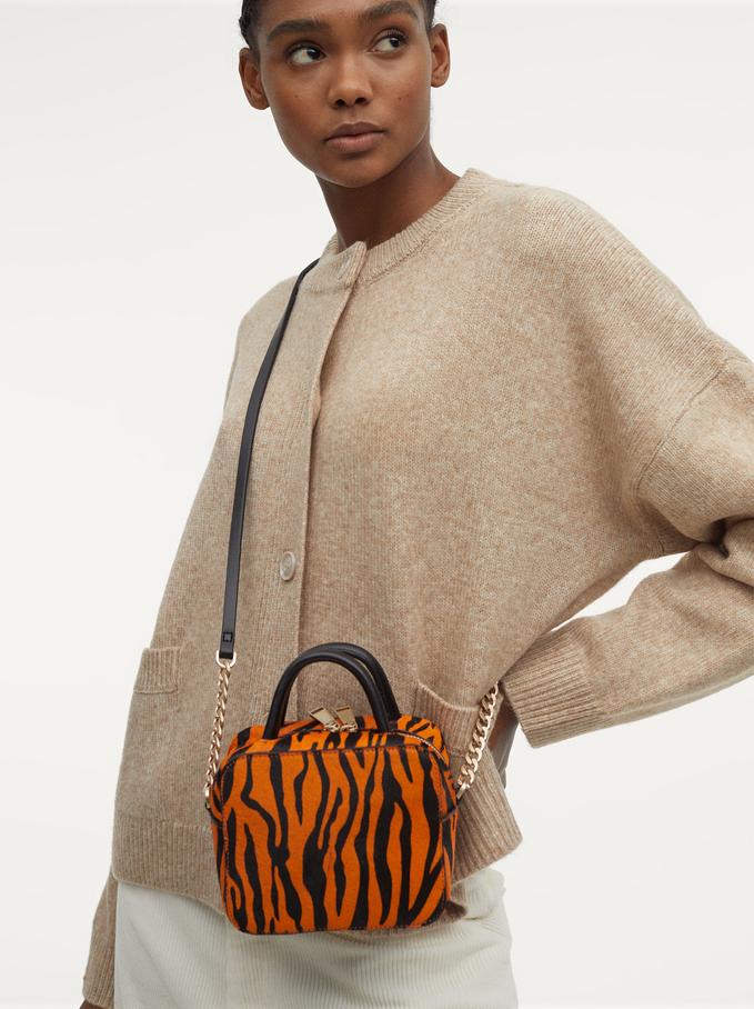 Leather Crossbody Bag With Print, Orange, hi-res