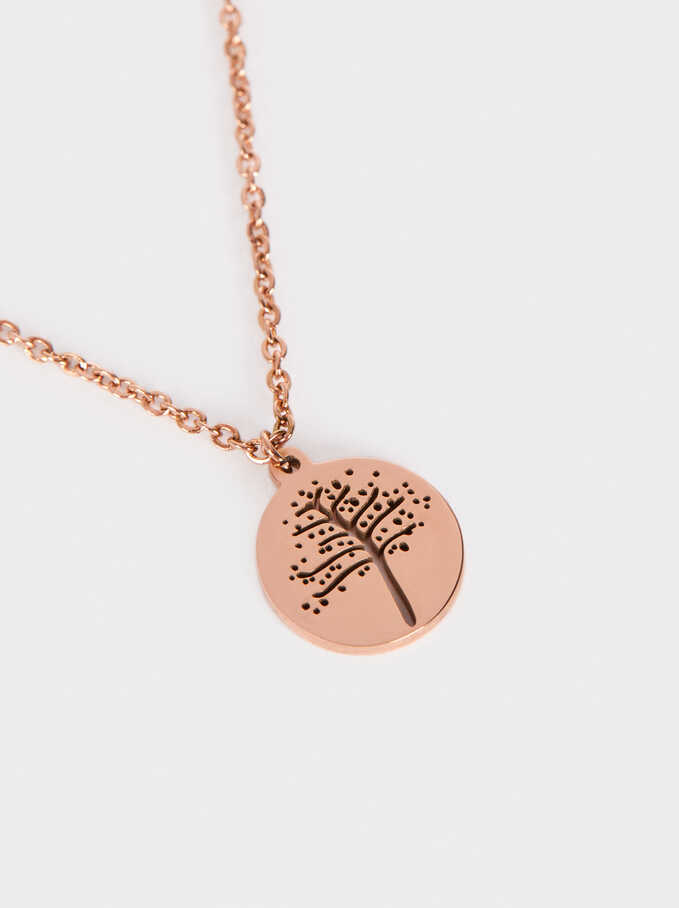 Short Steel Necklace With Tree Pendant, Orange, hi-res