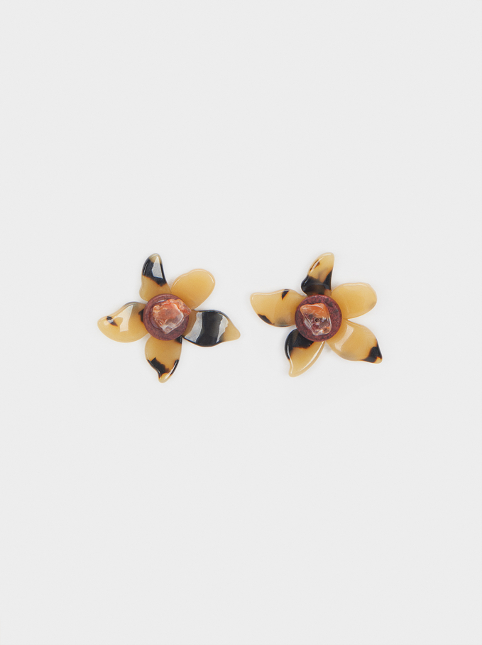 Short Earrings With Multicoloured Flower, Multicolor, hi-res