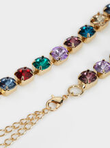 Bejewelled Metal Belt, Multicolor, hi-res