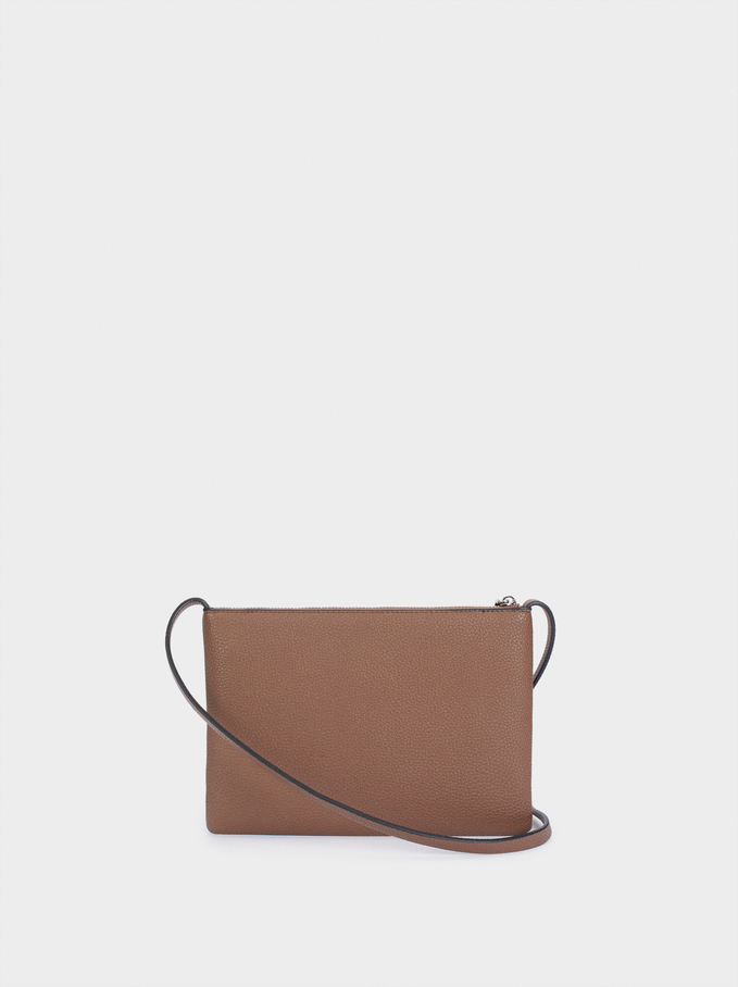 Embossed Crossbody Bag With Outer Pocket, Brown, hi-res