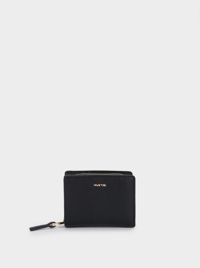 Portefeuille Compact Gravé, Noir, hi-res