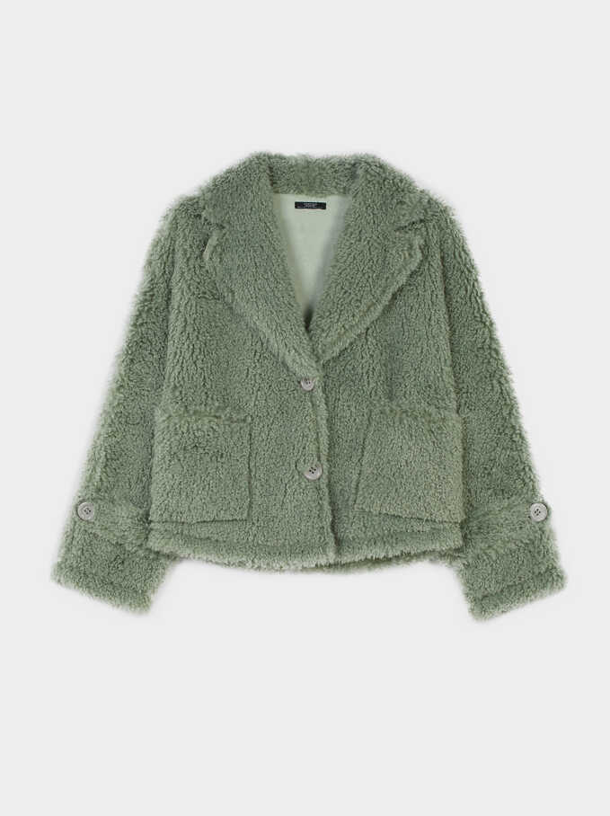 Teddy Coat, Green, hi-res