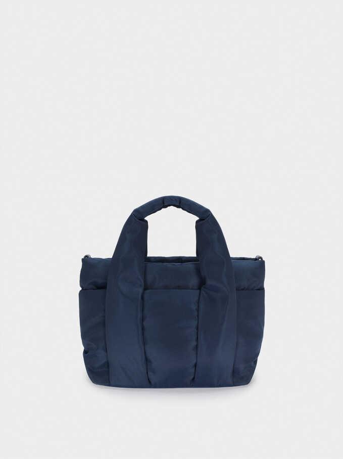 Nylon Tote Bag With Shoulder Strap, Navy, hi-res