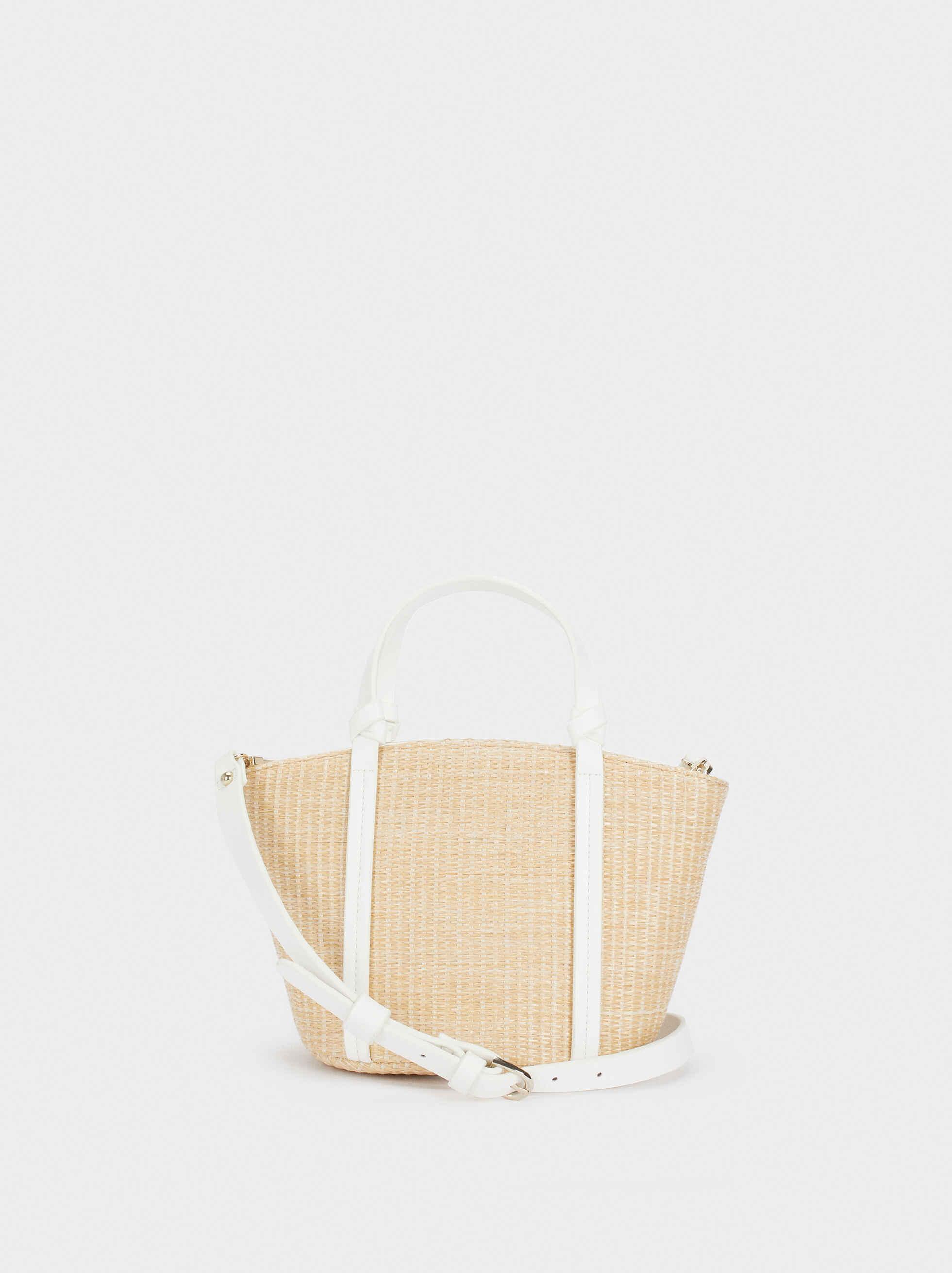 Bolso Shopper Textura Raffia , Beige, hi-res