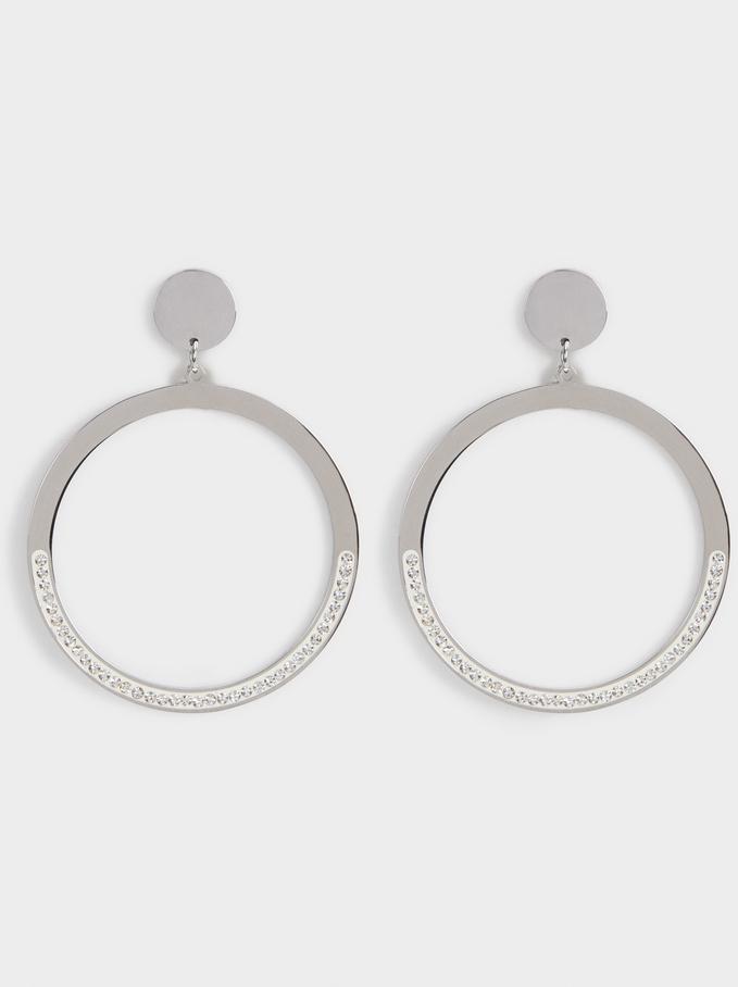 Shiny Steel Medium Earrings, Silver, hi-res