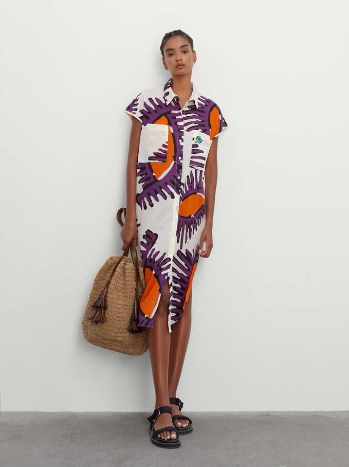 100% Cotton Printed Dress, Ecru, hi-res