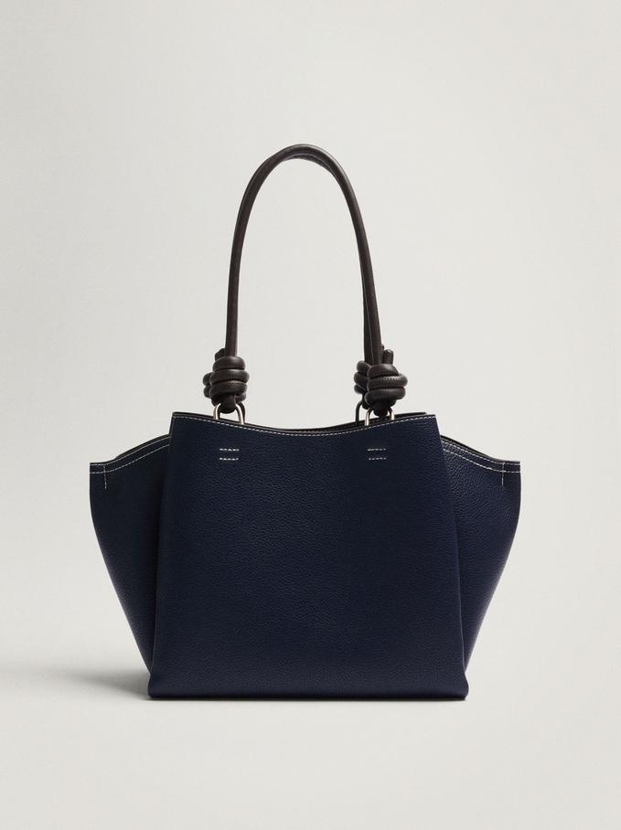 Shoulder Bag With Knotted Handle, Navy, hi-res