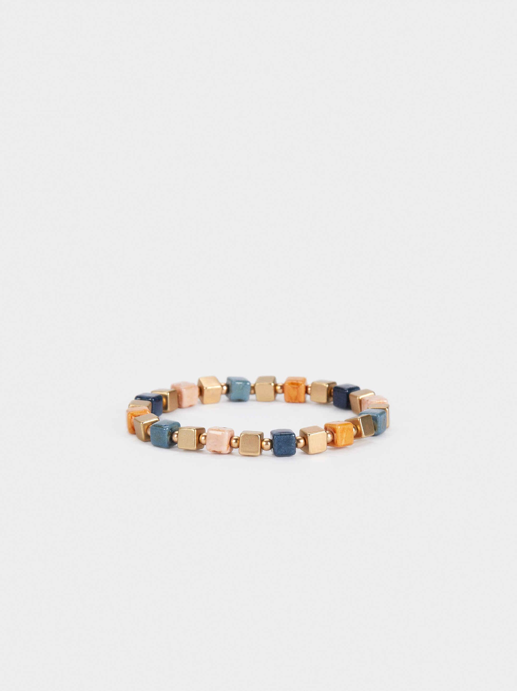 Gold Elasticated Bracelet With Gems, Multicolor, hi-res
