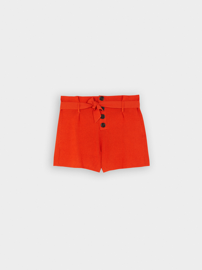 Knit Shorts With Bow And Buttons, Orange, hi-res