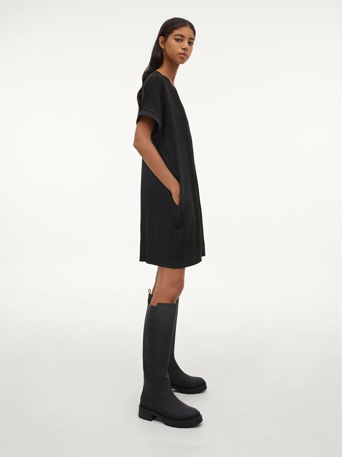 Vestido Liso Con Cuello Redondo Y Manga Corta, Negro, hi-res