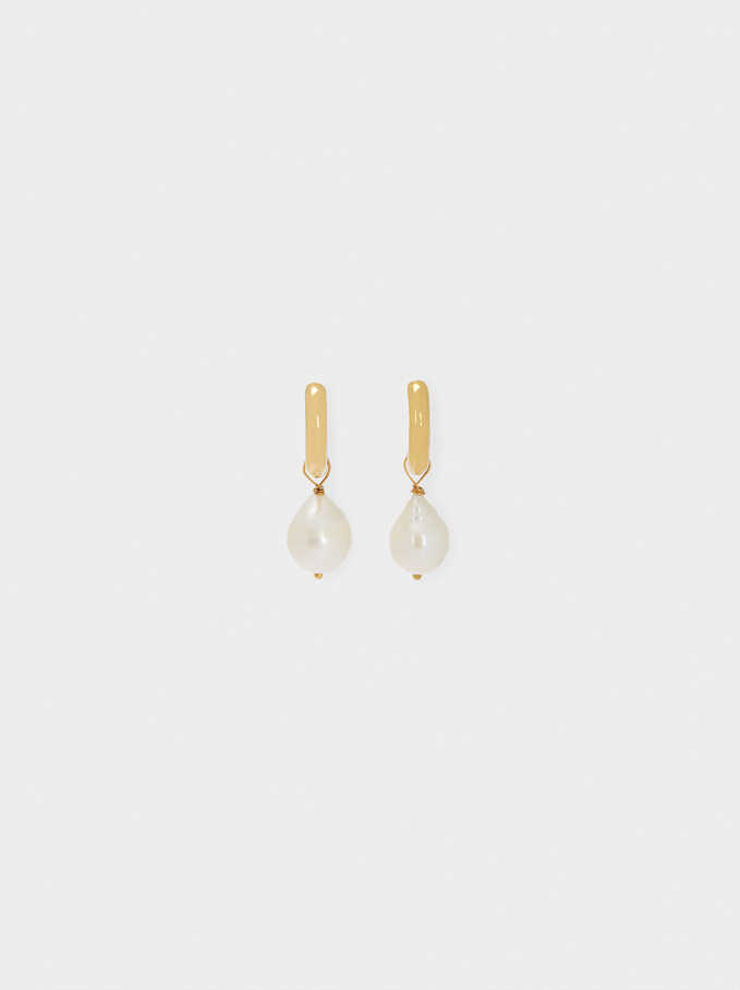 Stainless Steel Hoop Earrings With Pearls, Golden, hi-res