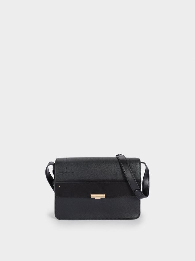 Crossbody Bag With Front Flap Closure, Black, hi-res
