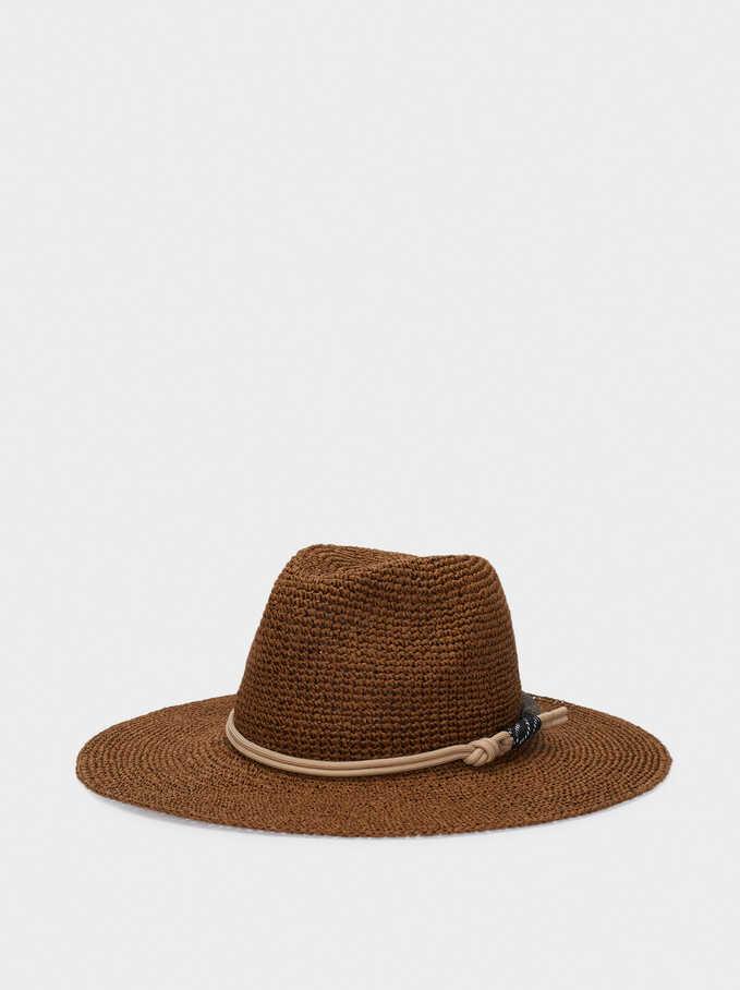 Sombrero Trenzado Con Cinta De Nudo, Marrón, hi-res