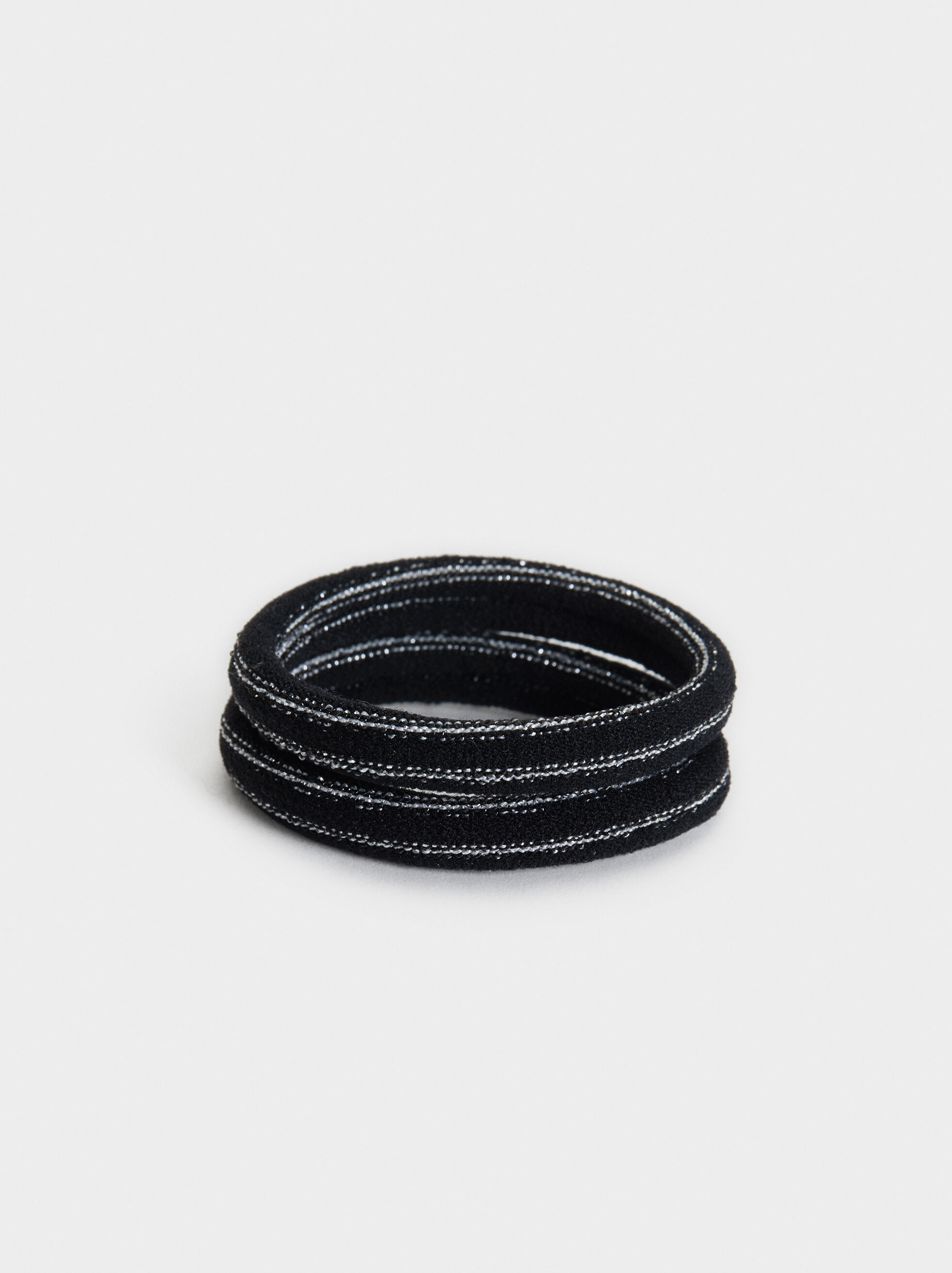 Set Of Hair Elastics With Metallic Thread, Black, hi-res