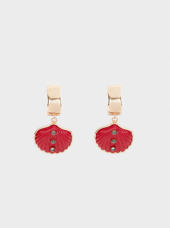 Long Shell Earrings, Red, hi-res