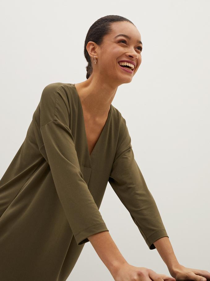 Plain V-Neck Dress, Khaki, hi-res
