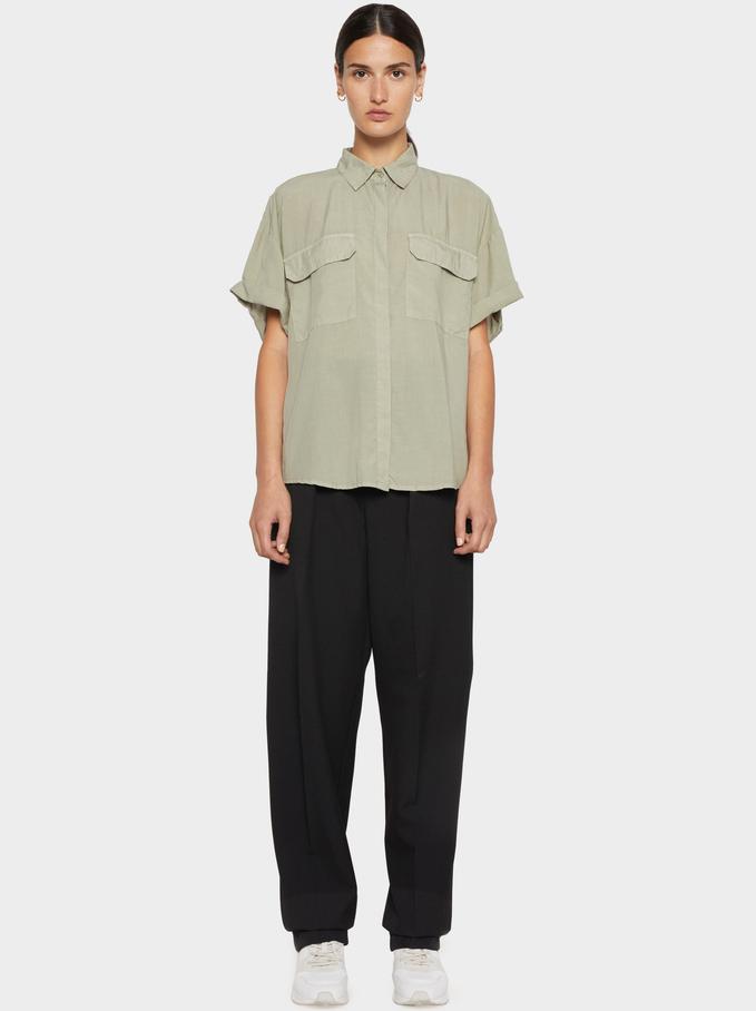 Plain Shirt With Pockets 100% Lyocell, Green, hi-res