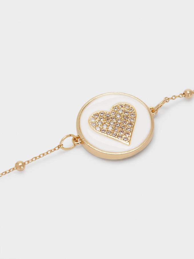 Adjustable Bracelet With Heart And Zirconia, Golden, hi-res