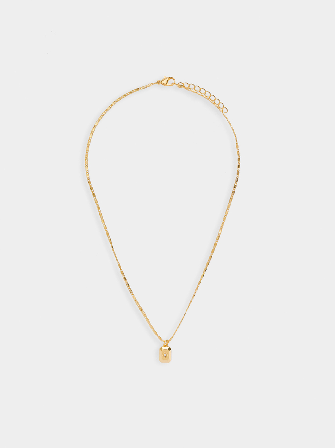 Short Necklace With Star Pendant, Golden, hi-res