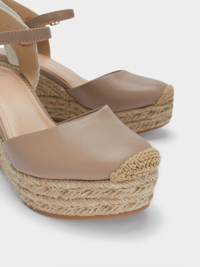 Wedge Sandals With Ankle Strap, Beige, hi-res