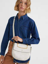 Crossbody Bag With Contrast Strap, Ecru, hi-res