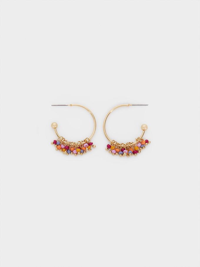 Créoles Petites Avec Perles Fantaisie, Multicolore, hi-res