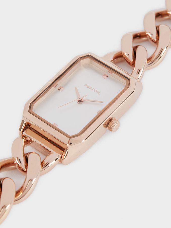 Stainless Steel Link Strap Watch, Orange, hi-res