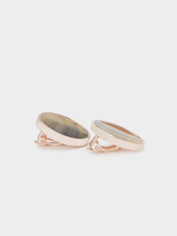 Small Rose Gold Shell Earrings, Orange, hi-res
