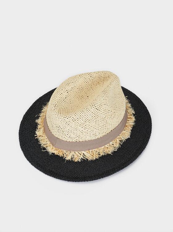 Two-Tone Faux Raffia Hat, Beige, hi-res