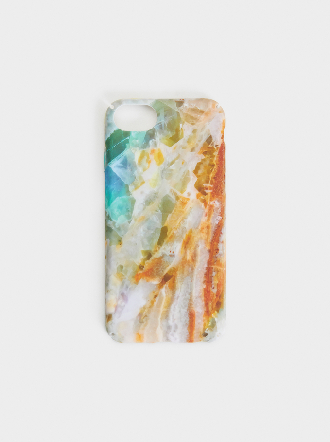 Marble-Effect Iphone 6/7/8 Case, Yellow, hi-res