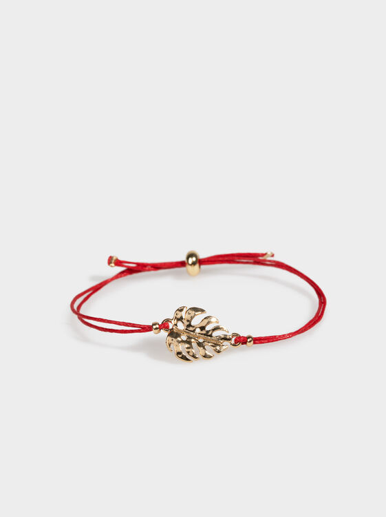 Adjustable Bracelet With Leaf, Red, hi-res