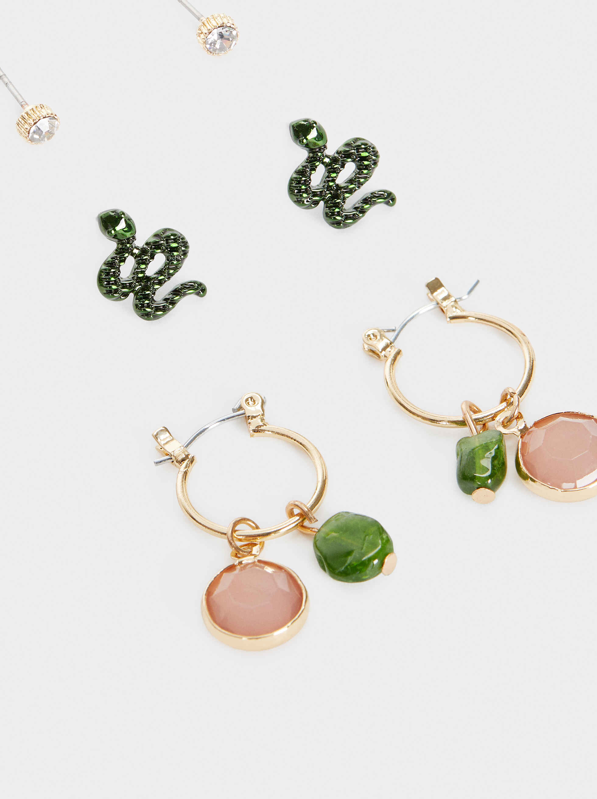 Set Of Earrings With Stones, Multicolor, hi-res