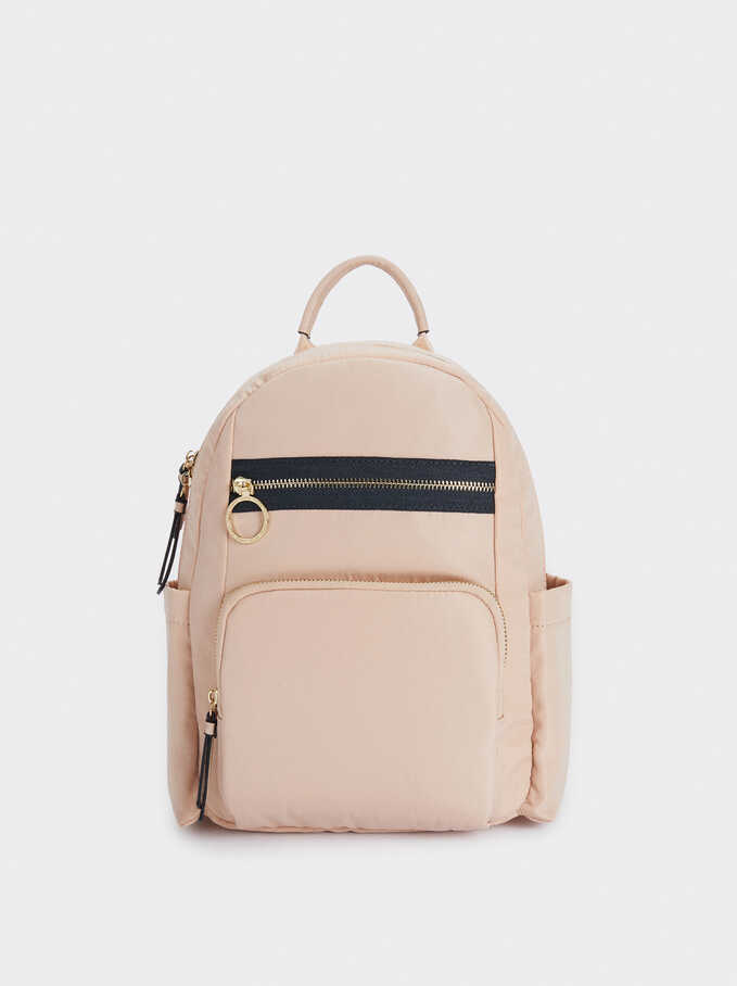 Nylon Backpack With Exterior Pockets, Pink, hi-res